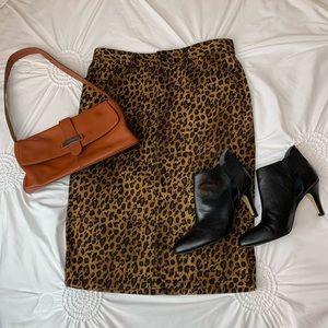 Ralph Lauren denim leopard midi skirt size 4